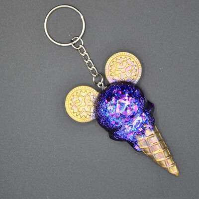 Porte-clefs Mickey glace - violet paillettes