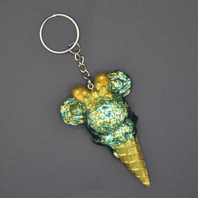 Porte-clefs Mickey glace - vert et or paillettes - imparfait