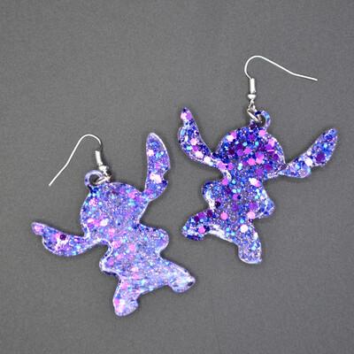 Boucles d'oreilles Stitch-violet