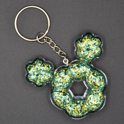 Porte-clefs Mickey beignet - vert et or - imparfait