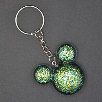 Porte-clefs Mickey - vert et or paillettes