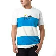 FILA PRENDAS MASCULINO T-SHIRT LISTRADA_SPORT BLUE_FRENCH/OFF_WHITE