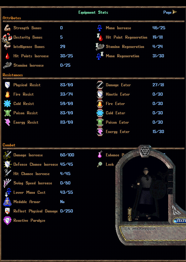 HIGH END PVP SUIT -  Parry Mystic Mage with 95 Extra Skills