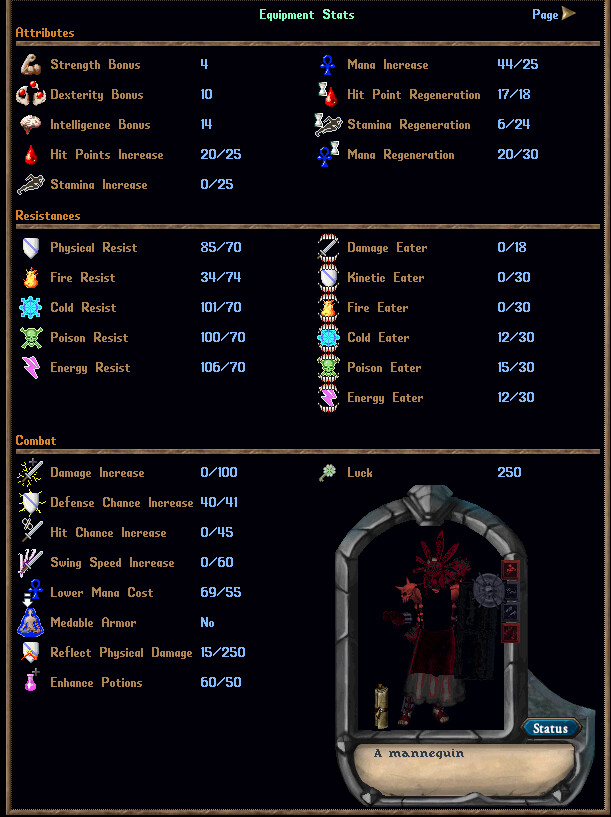 HIGH END PVP SUIT -  Parry Mystic Mage with 110 Extra Skills