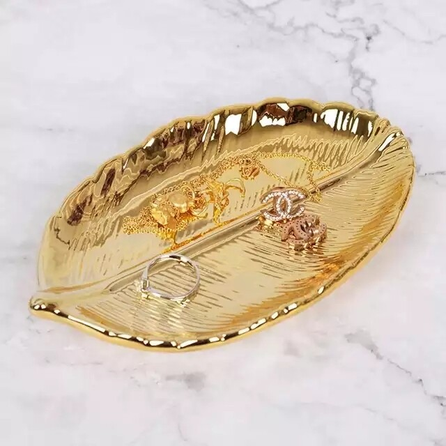 Gold Leaf Ring Dish - Home