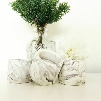 Concrete Marble Effect Tealight Holder - Home