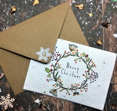 Plantable Seed Christmas Card - Home