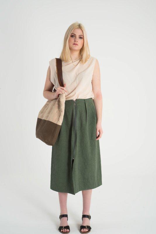 Ines - Pleated Zip Front Skirt