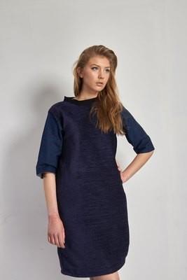 Sophia - Velvet & Denim Dress