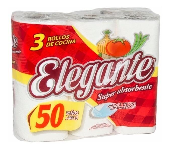 PAPEL DE COCINA ELEGANTE X 3 ROLLOS