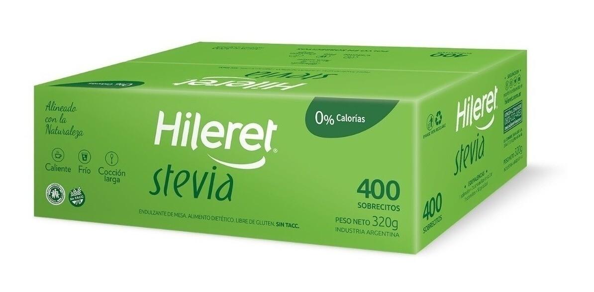 EDULCORANTE HILERET STEVIA, 400 sobres