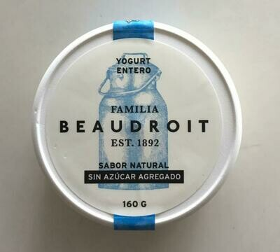 YOGURT NATURAL ENTERO SIN AZUCAR, FAMILIA BEAUDROIT, 170 gr