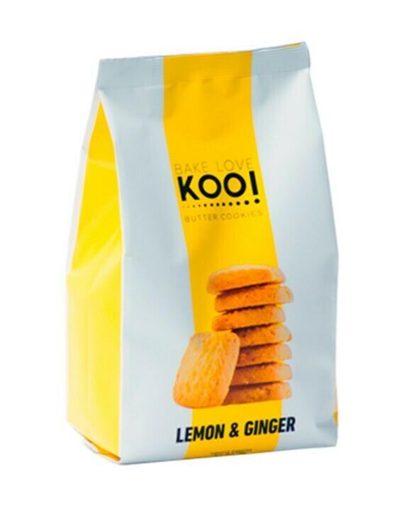 BUTTER COOKIES LEMON & GINGER, BAKE LOVE KOO, 180 gr