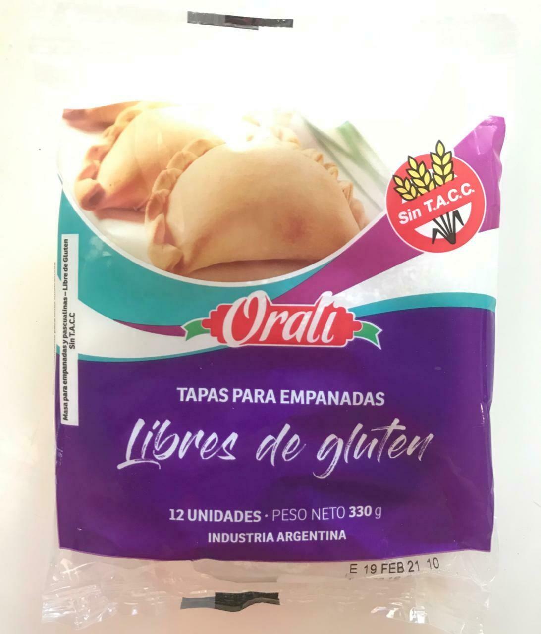 TAPAS DE EMPANADAS SIN TACC, ORALI, 330 gr