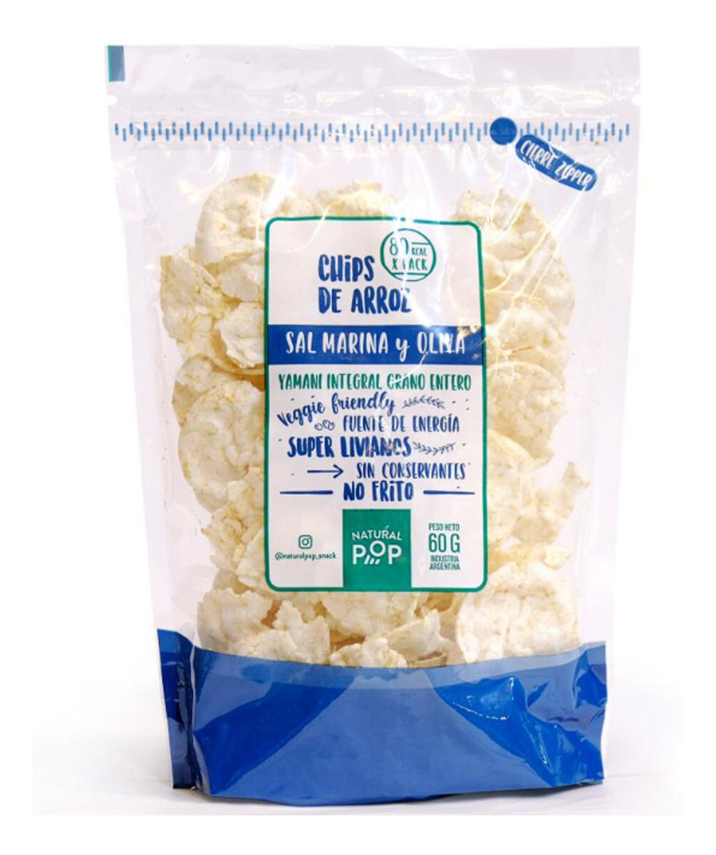 CHIPS DE ARROZ YAMANI INTEGRAL Y SAL MARINA, NATURAL POP, 60 gr
