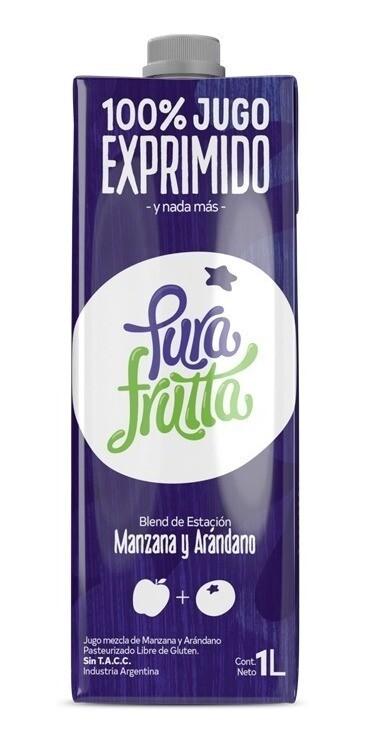 JUGO DE MANZANA Y ARANDANOS, PURA FRUTTA, 1 lt