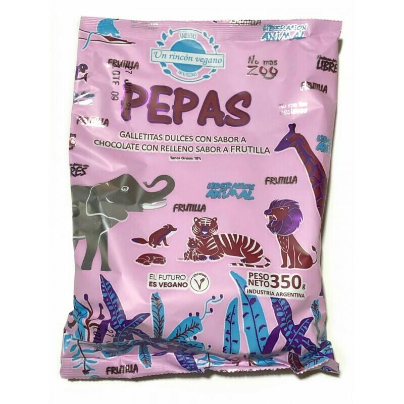 PEPAS DE CHOCOLATE CON DULCE DE FRUTILLA, UN RINCON VEGANO, 350 gr