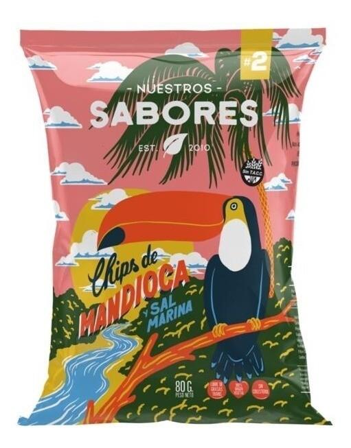 CHIPS DE MANDIOCA Y SAL MARINA, NUESTROS SABORES, 80 gr