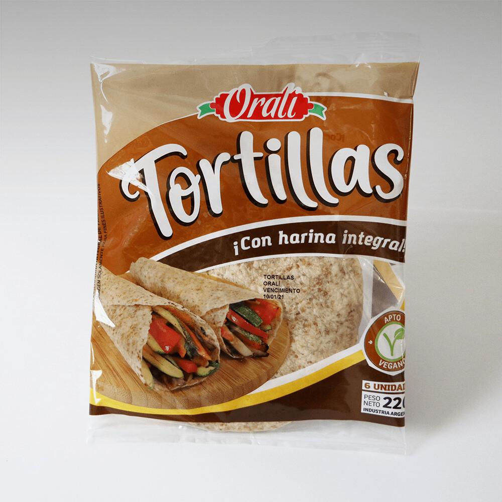TORTILLAS DE HARINA INTEGRAL, ORALI, 220 gr