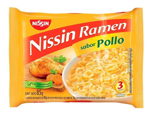 NISSIN RAMEN SABOR POLLO, 85 gr