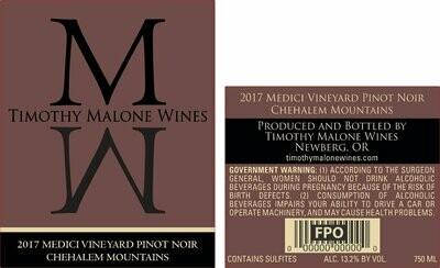 2017 Medici Vineyard Pinot Noir Chehalem Mountains