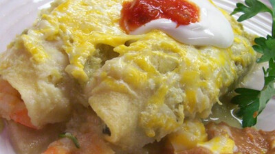 Shrimp Enchiladas Suisse (Keto/GF option)