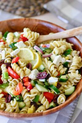 Greek Fusilli Pasta with Shrimp and Lemon Dill Dressing (veg option)