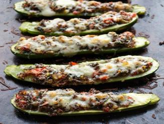 Stuffed Zucchini Boats (GF, Veg option)