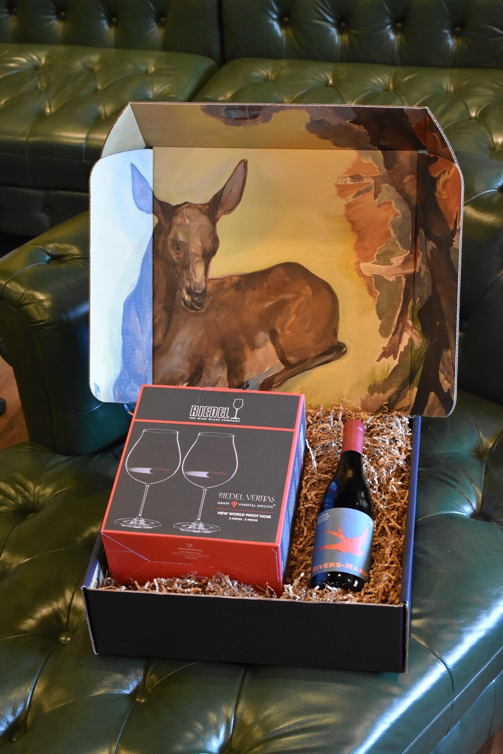WH BOX WITH RIEDEL VERITAS PINOT NOIR SET OF TWO GLASSES AND A BOTTLE OF RIVERS MARIE SUMMA PINOT NOIR 2018