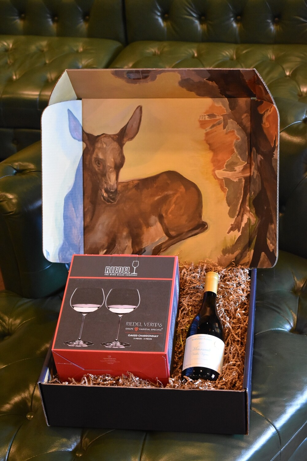 WH BOX WITH RIEDEL VERITAS OAKED CHARDONNAY GLASS SET OF TWO AND A BOTTLE OF BERNARD BONIN MEURSAULT VIEILLES VIGNES 2015