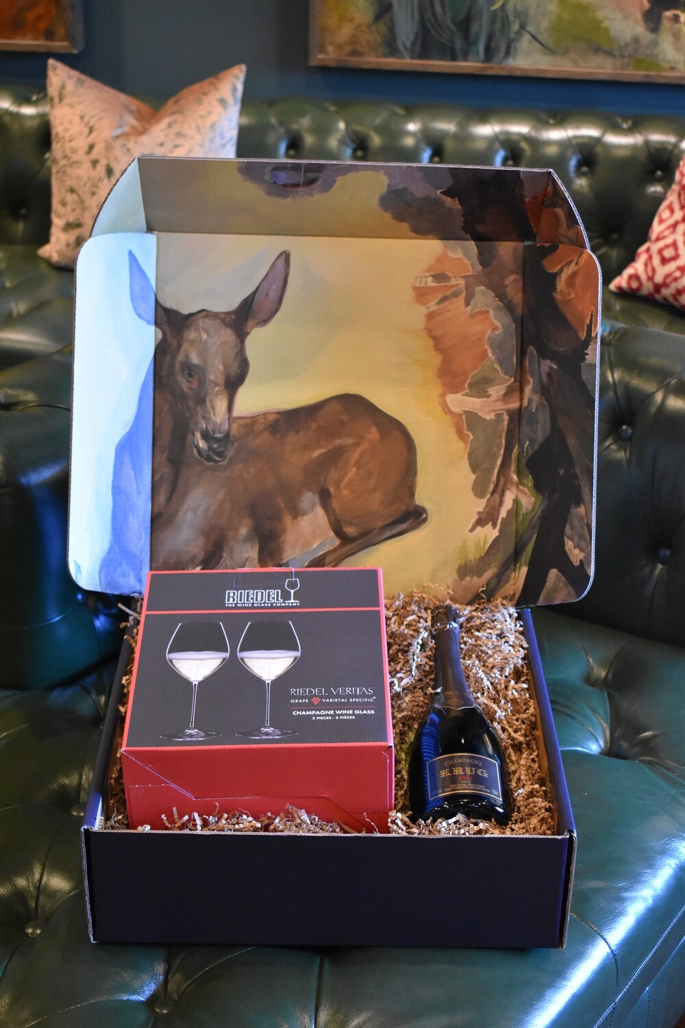 WH BOX WITH RIEDEL VERITAS CHAMPAGNE GLASSES SET OF TWO AND A BOTTLE OF NOLAN'S FAVORITE KRUG CHAMPAGNE 2004