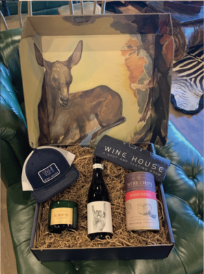 WH BOX WITH ALL THE SWAG: WH HAT, WH T-SHIRT, WH CANDLE, WINE CHIP AND ONE OF NATHAN'S FAVORITE RED WINES
