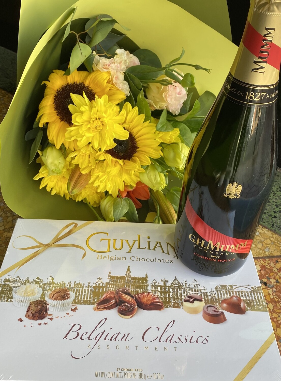 Mumm, Blooms and Guylian Chocolates