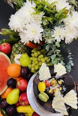 Flowers, Fruit and Celebration Cake