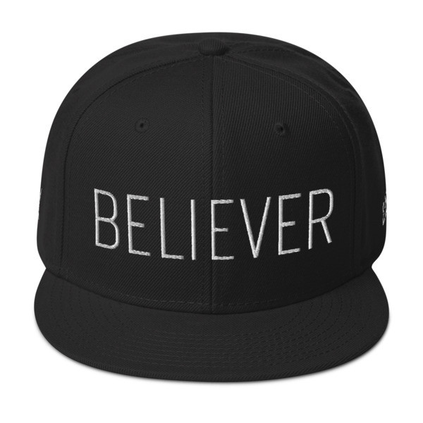 """Believer"" Wool Snapback Hat - Front & Back - Right Side Embroidery Locations"