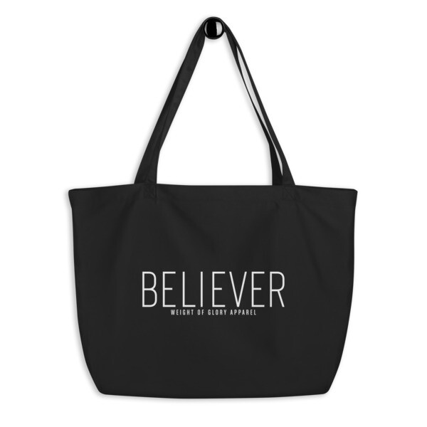 """Believer"" Large organic tote bag"