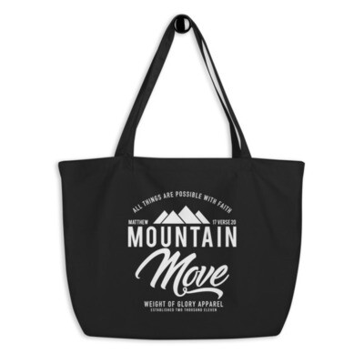 """Mountain Move"" Large organic tote bag"