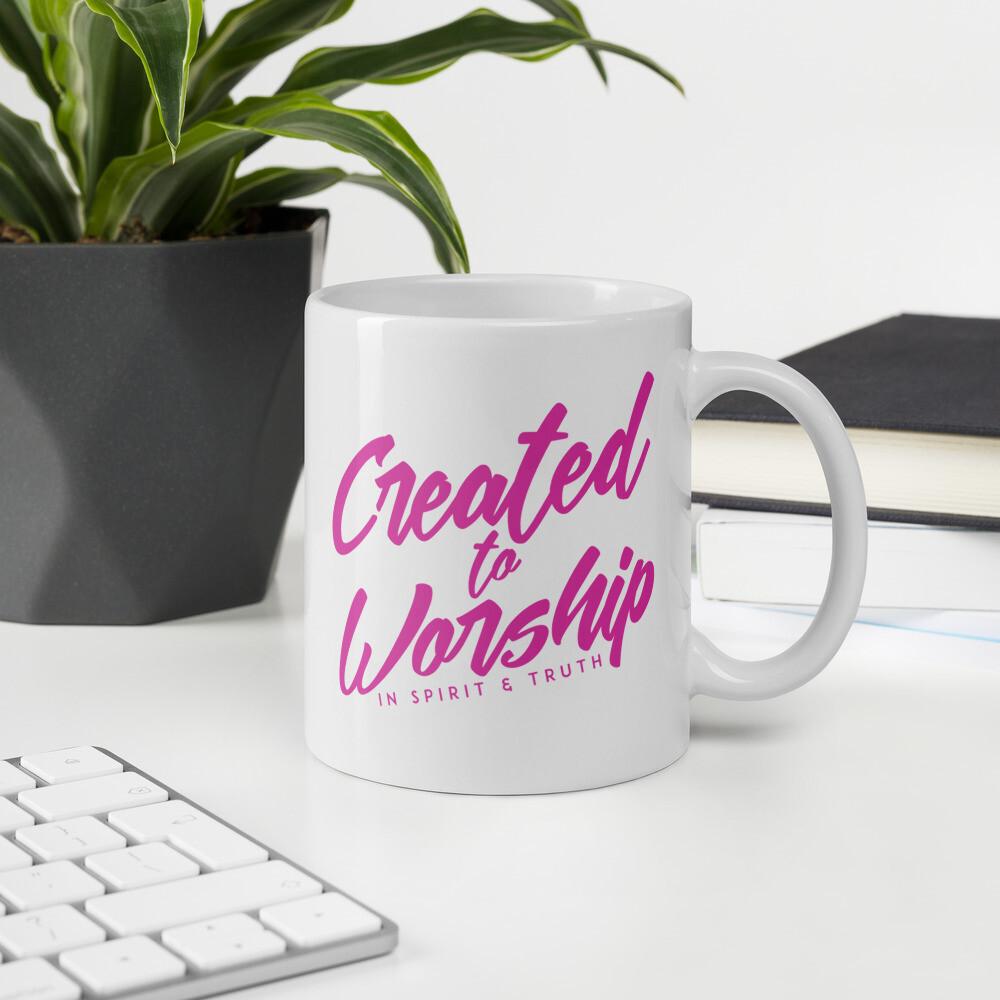 """Created to Worship"" Mug - Pink"