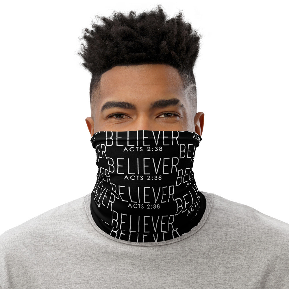 (Believer) Acts 2:38 All-Over Print Neck Gaiter (Christian Face Mask)