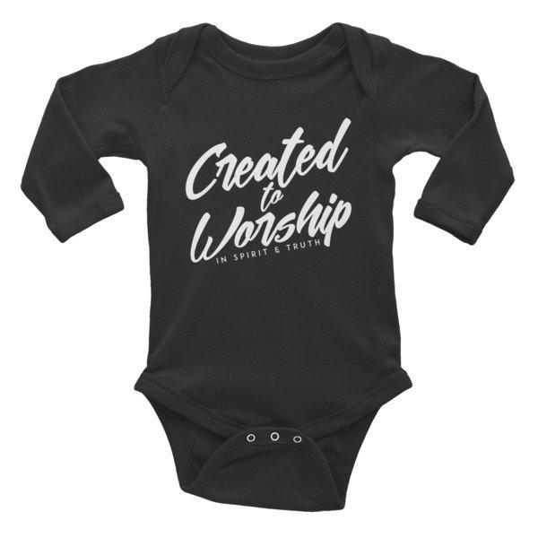 """""""Created to Worship"""" Infant Long Sleeve Bodysuit - Black"""