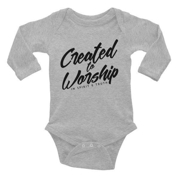 """""""Created to Worship"""" Infant Long Sleeve Bodysuit - White"""