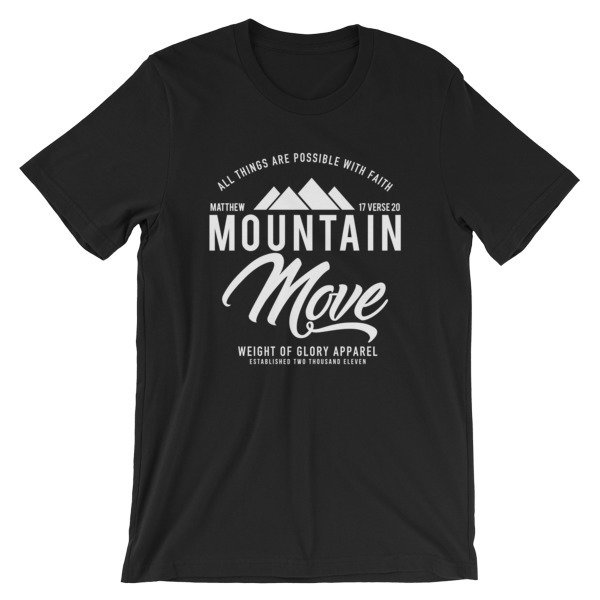 """Mountain Move"" White Print - Unisex T-Shirt"
