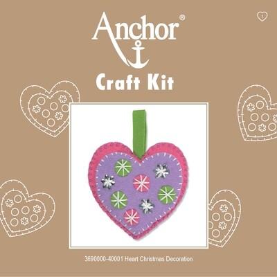 Anchor 1st Kit - Hearts Xmas Decoration