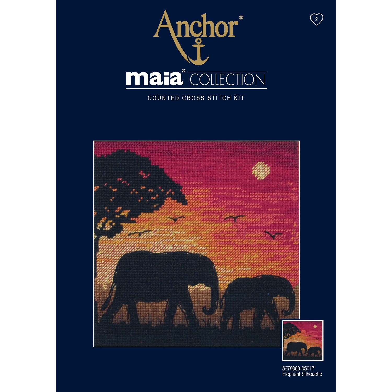 Maia Cross Stitch Kit - Elephant Silhouette