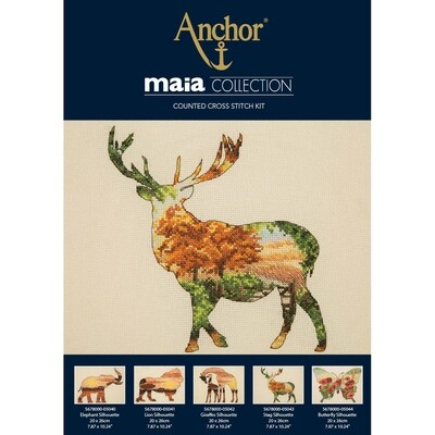 Maia Cross Stitch Kit - Stag Silhouette 20x26cm