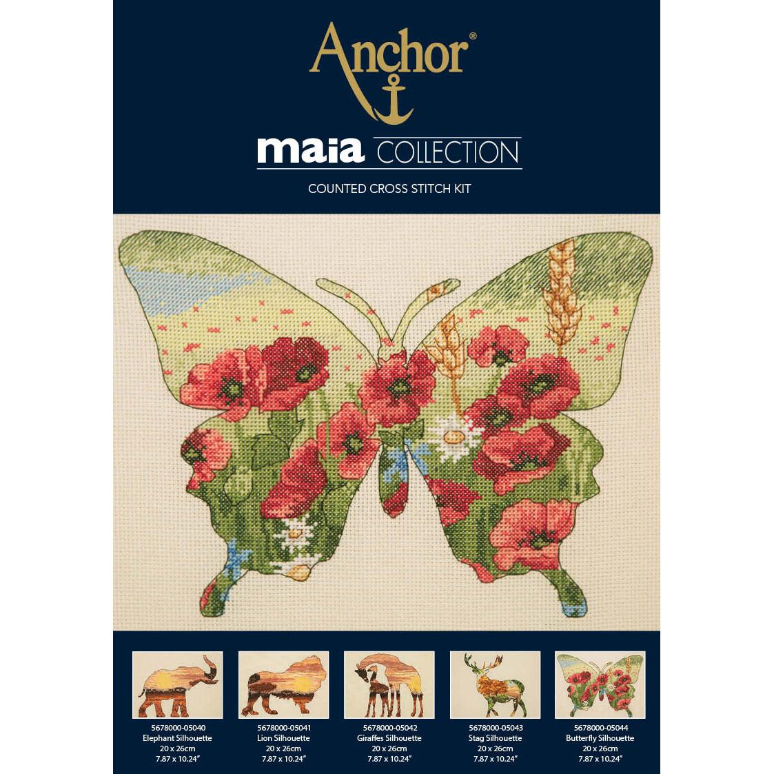 Maia Cross Stitch Kit - Butterfly Silhouette 20x26cm