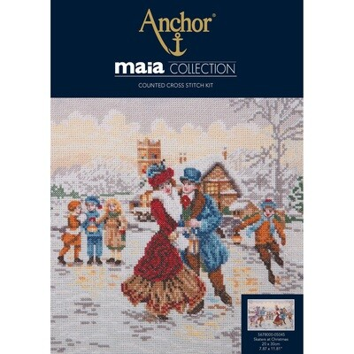 Maia Cross Stitch Kit - Skaters at Christmas Cross Stitch