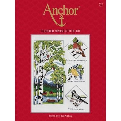 Anchor Essentials Cross Stitch Kit - Birch and Birds