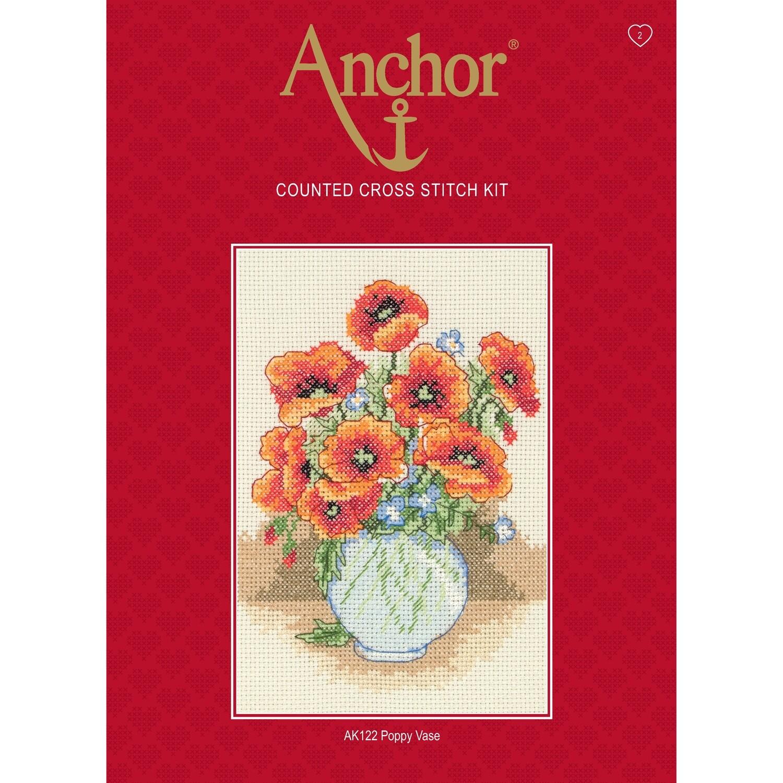 Anchor Starter Cross Stitch Kit - Poppy Vase