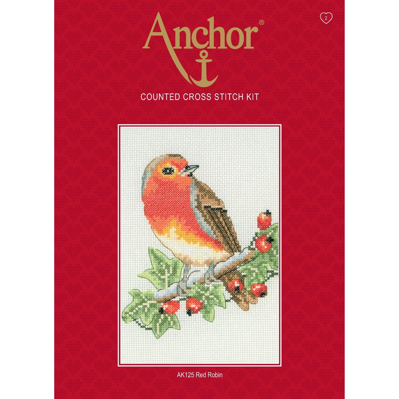 Anchor Starter Cross Stitch Kit - Red Robin